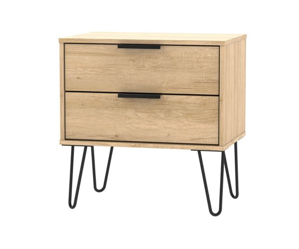 Welcome Furniture Hong Kong Nebraska Oak 2 Drawer Midi Chest with Black Hair Pin Style Metal Legs