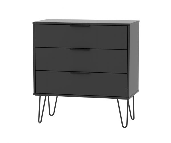 Welcome Furniture Hong Kong Black Matt 3 Drawer Chest with Black Hair Pin Style Metal Legs