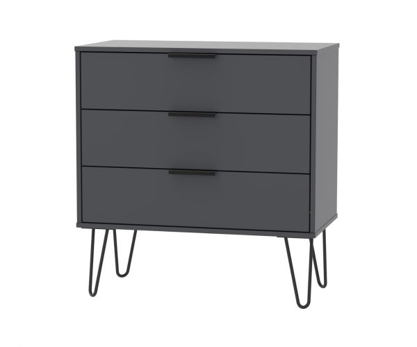 Welcome Furniture Hong Kong Graphite 3 Drawer Chest with Black Hair Pin Style Metal Legs