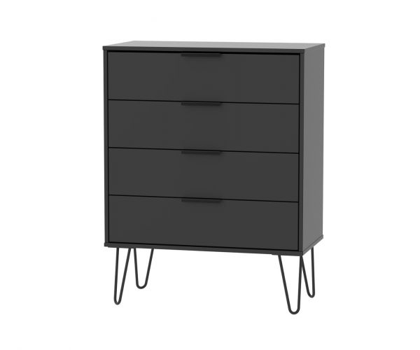 Welcome Furniture Hong Kong Black Matt 4 Drawer Chest with Black Hair Pin Style Metal Legs