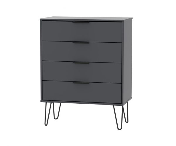 Welcome Furniture Hong Kong Graphite 4 Drawer Chest with Black Hair Pin Style Metal Legs
