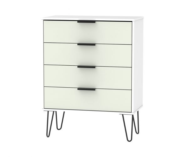 Welcome Furniture Hong Kong Kaschmir Matt 4 Drawer Chest with Black Hair Pin Style Metal Legs