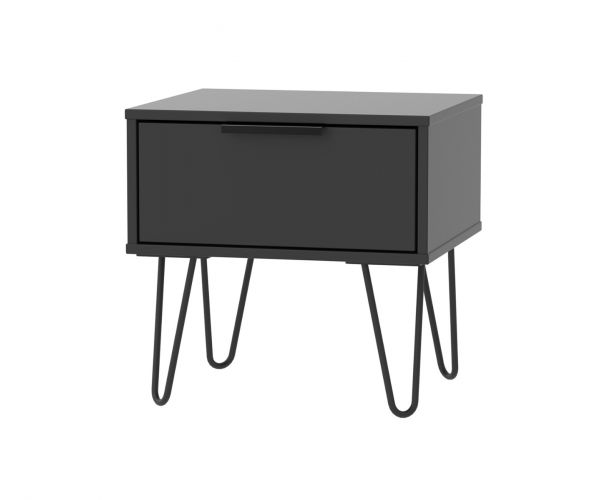 Welcome Furniture Hong Kong Black Matt 1 Drawer Locker with Black Hair Pin Style Metal Legs