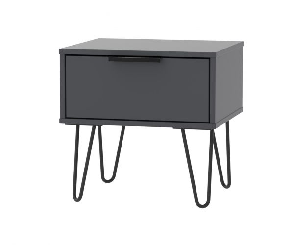 Welcome Furniture Hong Kong Graphite 1 Drawer Locker with Black Hair Pin Style Metal Legs