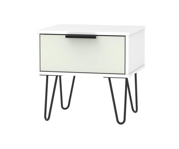 Welcome Furniture Hong Kong Kaschmir Matt 1 Drawer Locker with Black Hair Pin Style Metal Legs