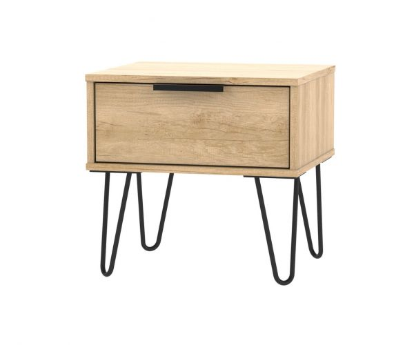 Welcome Furniture Hong Kong Nebraska Oak 1 Drawer Locker with Black Hair Pin Style Metal Legs