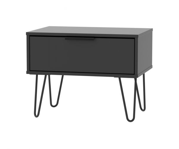 Welcome Furniture Hong Kong Black Matt 1 Drawer Midi Chest with Black Hair Pin Style Metal Legs