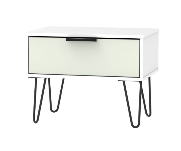 Welcome Furniture Hong Kong Kaschmir Matt 1 Drawer Midi Chest with Black Hair Pin Style Metal Legs