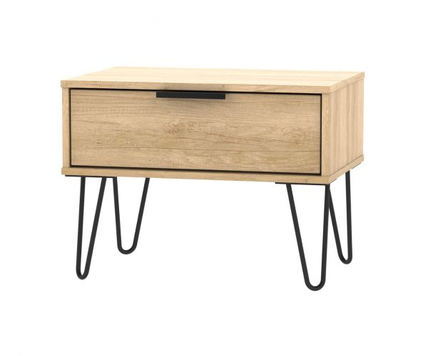 Welcome Furniture Hong Kong Nebraska Oak 1 Drawer Midi Chest with Black Hair Pin Style Metal Legs