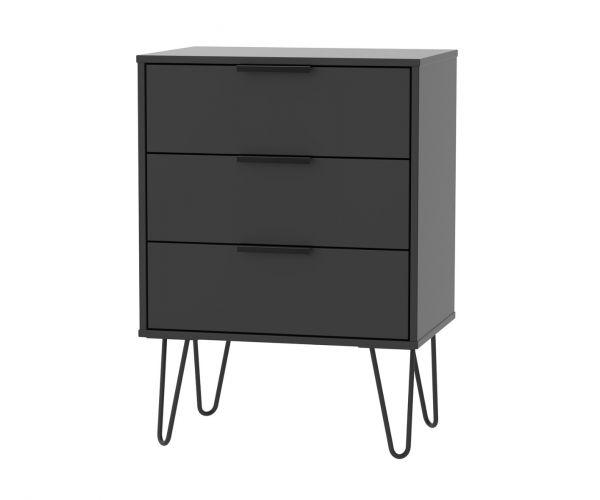 Welcome Furniture Hong Kong Black Matt 3 Drawer Midi Chest with Black Hair Pin Style Metal Legs