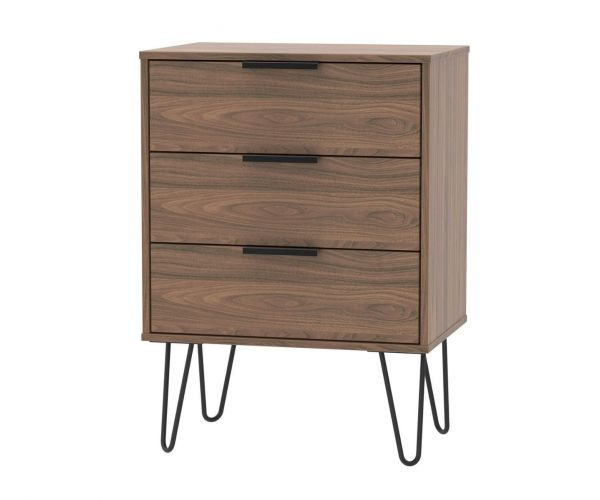 Welcome Furniture Hong Kong Carini Walnut 3 Drawer Midi Chest with Black Hair Pin Style Metal Legs