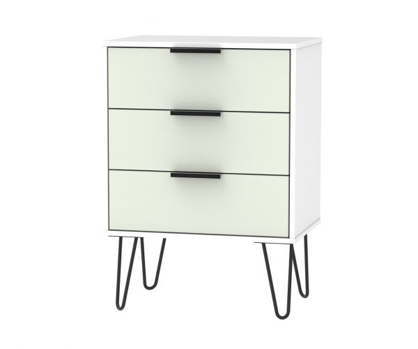 Welcome Furniture Hong Kong Kaschmir Matt 3 Drawer Midi Chest with Black Hair Pin Style Metal Legs