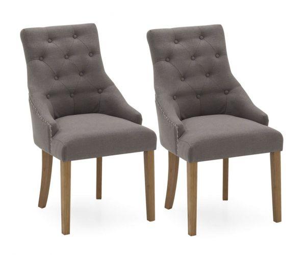 Vida Living Hobbs Linen Grey Dining Chair in Pair