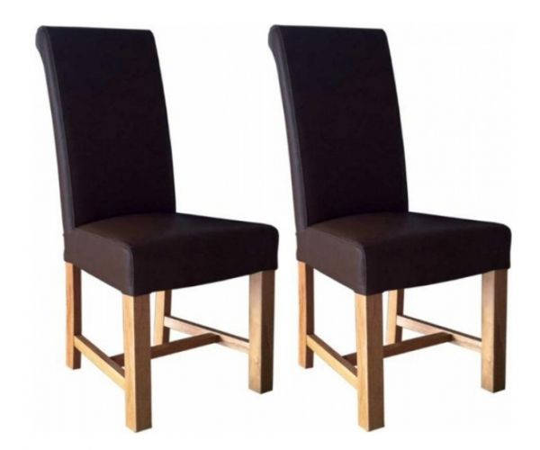 Homestyle GB Chunky Scroll Brown Bycast Leather Dining Chair in Pair