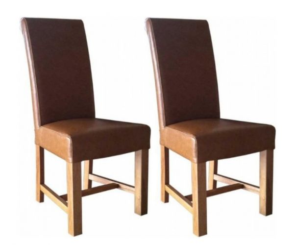 Homestyle GB Chunky Scroll Tan Bycast Leather Dining Chair in Pair