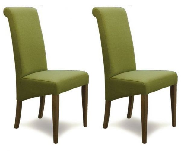 Homestyle GB Italia Lime Fabric Dining Chair in Pair
