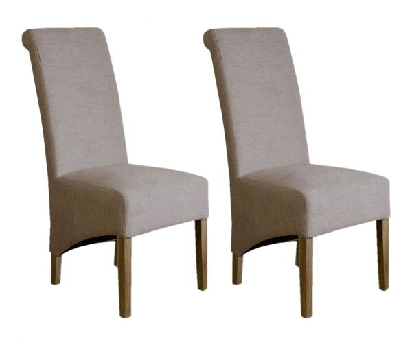 Homestyle GB Richmond Beige Chenille Fabric Dining Chair in Pair