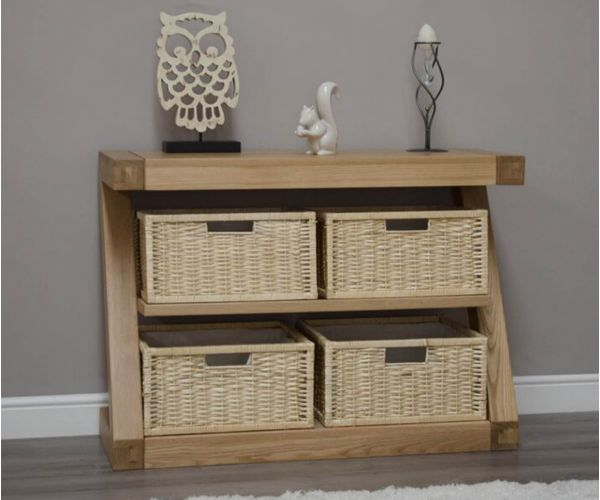 Homestyle GB Z Oak Designer Basket Console Table