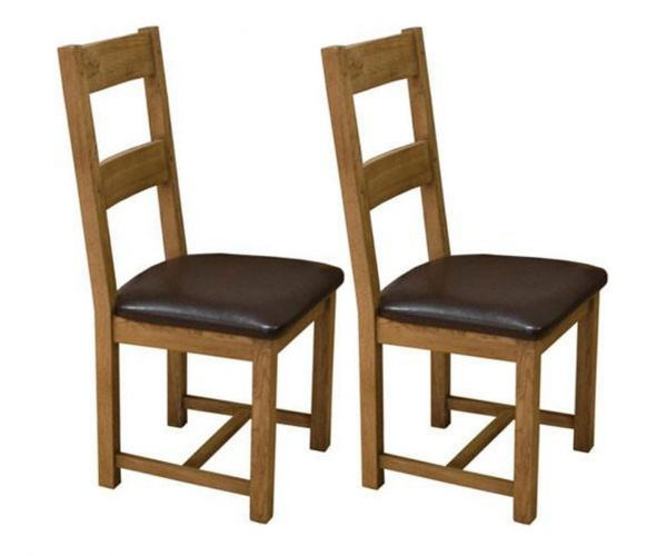 Homestyle GB Rustic Oak Dining Chair in Pair