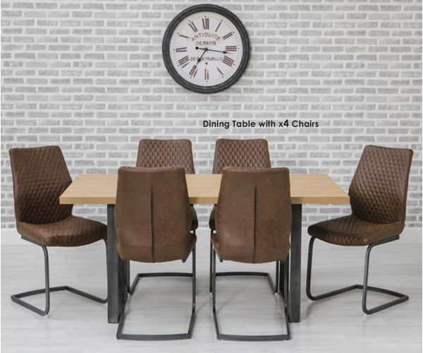 Furniture Line Hugo Oak Rectangular Dining Set with Metal Legs with 4 Charlie Chairs - 160cm