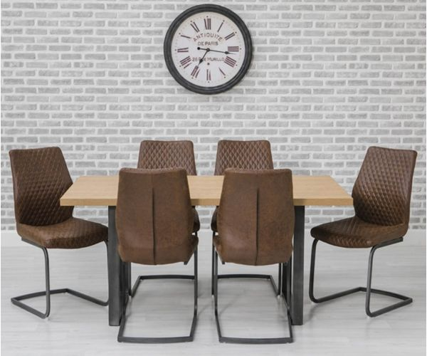 Furniture Line Hugo Oak Rectangular Dining Set with Metal Legs with 6 Charlie Chairs - 160cm