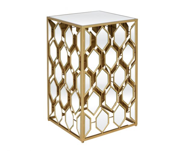 Serene Furnishings Hyderabad Gold Mirrored Large Lamp Table