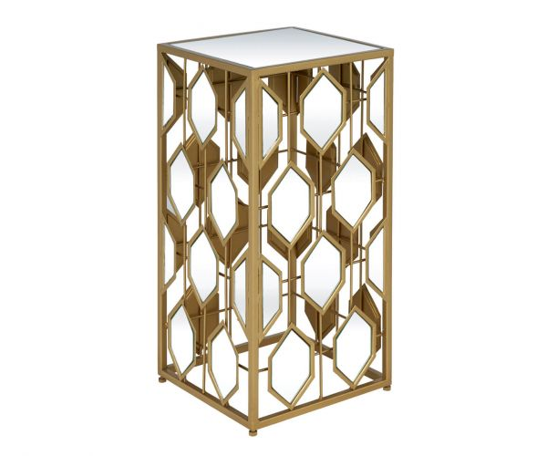 Serene Furnishings Hyderabad Gold Mirrored Small Lamp Table