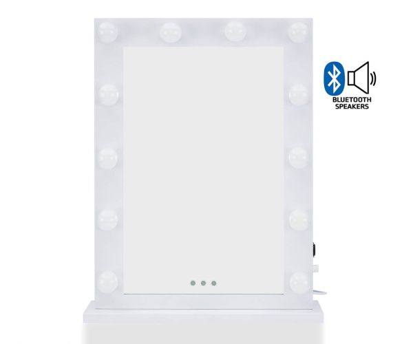Derrys Furniture Hollywood Desktop White Mirror with Bluetooth Speaker