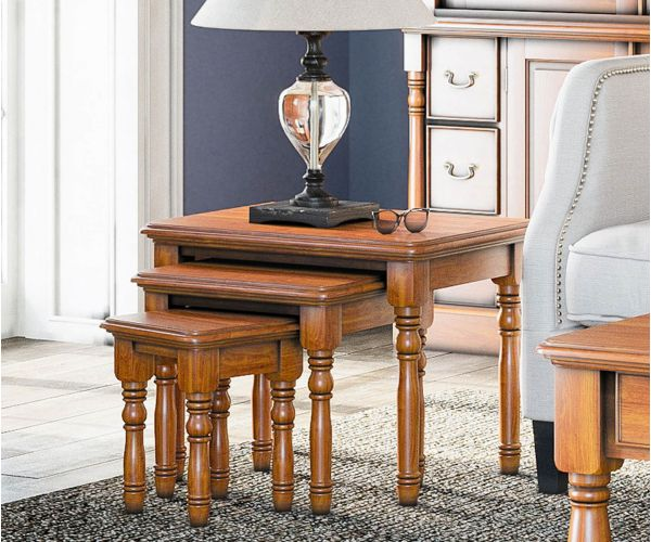 Baumhaus La Reine Mahogany Nest of Three Tables
