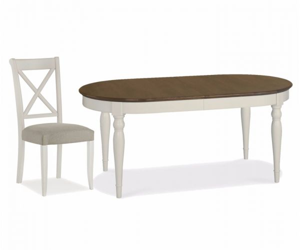 Bentley Designs Hampstead Soft Grey and Walnut 6-8 Extension Table with X Back Dining Chairs