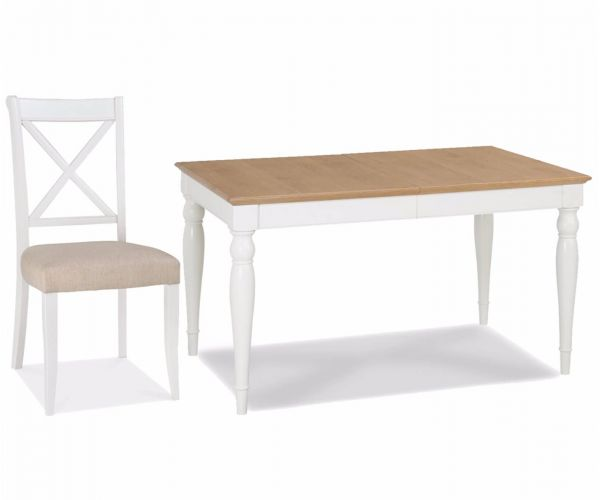 Bentley Designs Hampstead Two Tone Small Rectangular Dining Table with X Back Chairs