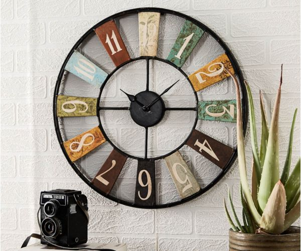 Indian Hub Archie Industrial Metal Wall Clock