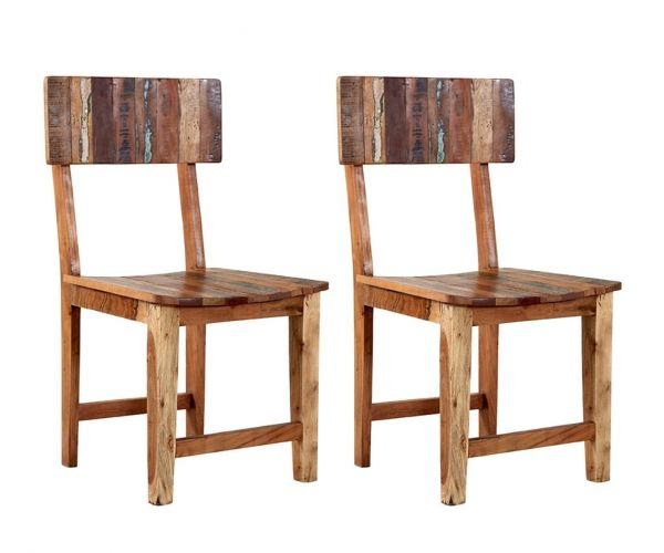Indian Hub Coastal Reclaimed Wood Dining Chair in Pair