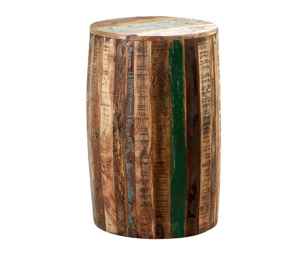 Indian Hub Coastal Reclaimed Wood Drum Stool