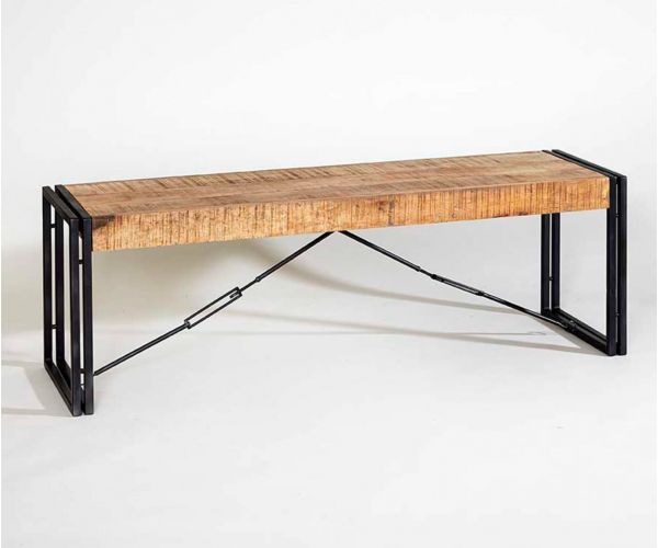 Indian Hub Cosmo Industrial Large Metal and Wood Bench