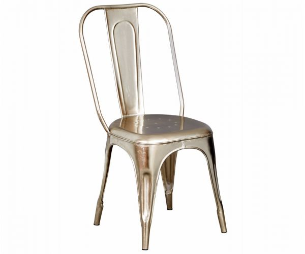 Indian Hub Cosmo Industrial Silver Metal Chair in Pair