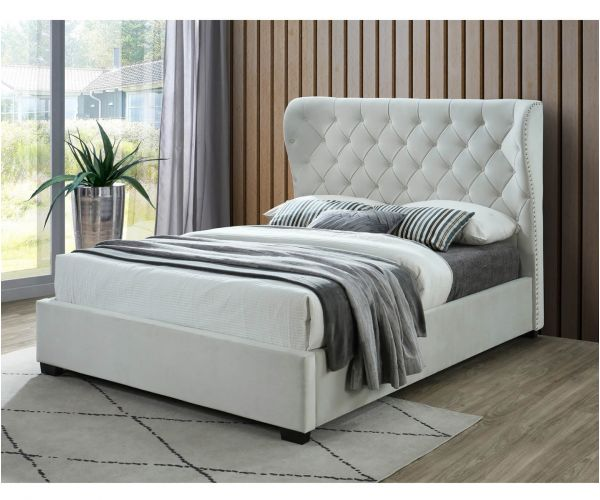 Sareer Infinity Grey Velvet Bed Frame