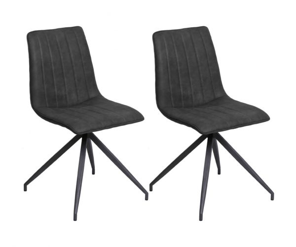 Vida Living Isaac Charcoal Leather Dining Chair in Pair