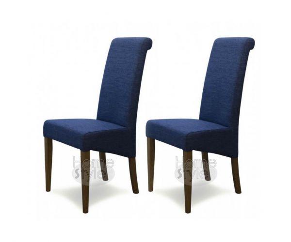 Homestyle GB Italia Denim Blue Fabric Dining Chair in Pair