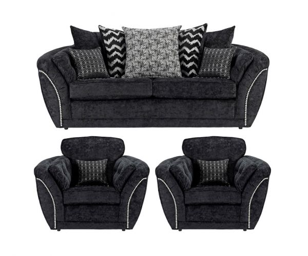 Lebus Izzy Black Fabric 3+1+1 Sofa Set