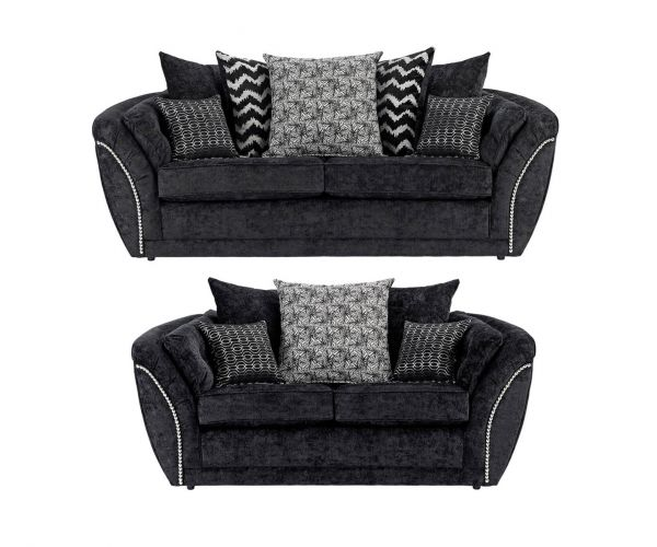 Lebus Izzy Black Fabric 3+2 Sofa Set
