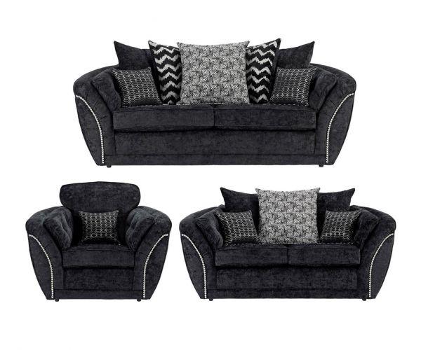 Lebus Izzy Black Fabric 3+2+1 Sofa Set