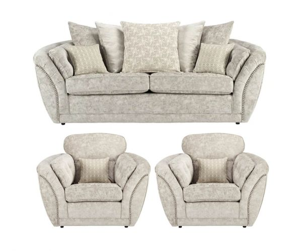 Lebus Izzy Nickel Fabric 3+1+1 Sofa Set
