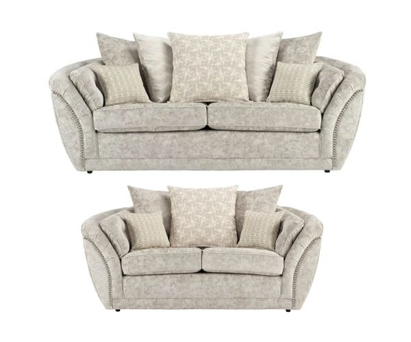 Lebus Izzy Nickel Fabric 3+2 Sofa Set