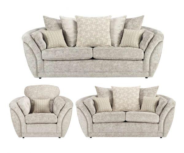 Lebus Izzy Nickel Fabric 3+2+1 Sofa Set