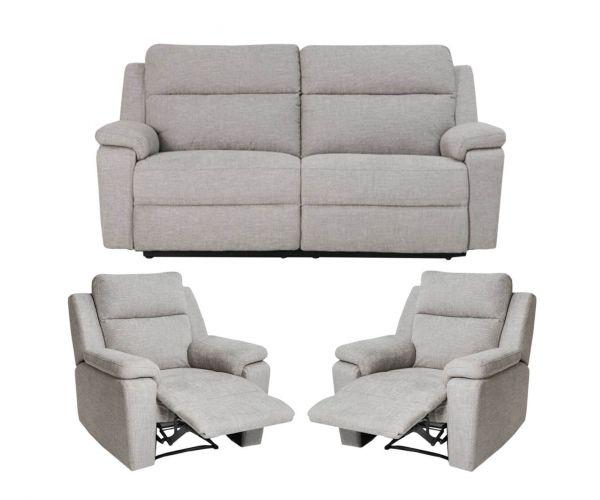 Furniture Line Jackson Fabric 3RR+1R+1R Recliner Sofa Set