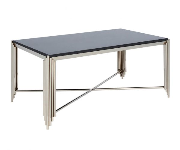 Serene Furnishings Jaipur Black Granite Top and Nickel Rectangular Coffee Table