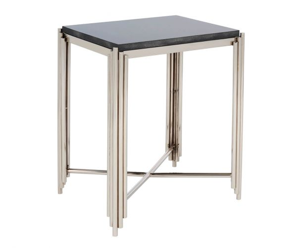 Serene Furnishings Jaipur Black Granite Top and Nickel Square Lamp Table