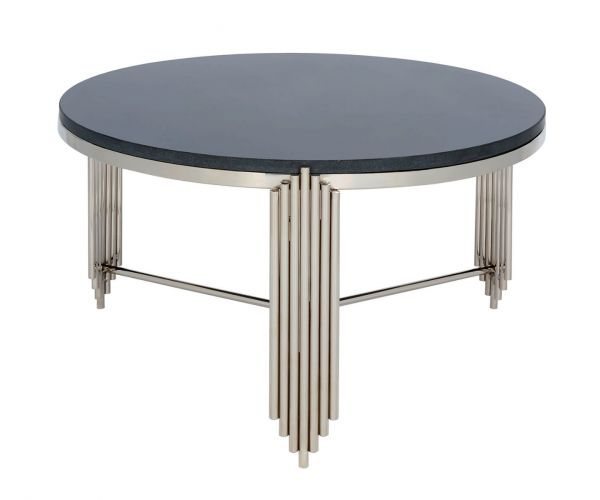 Serene Furnishings Jaipur Black Granite Top and Nickel Round Coffee Table