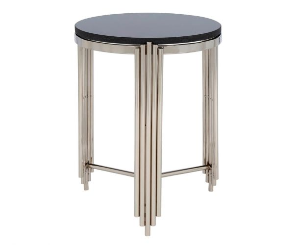 Serene Furnishings Jaipur Black Granite Top and Nickel Round Lamp Table